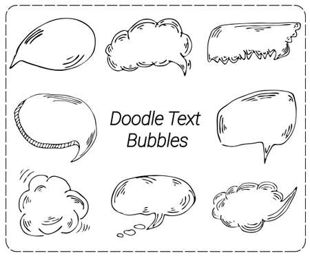 hand drawn think and talk speech bubbles with love message, greetings and sale ad. Doodle style comic balloon, cloud, heart shaped design elements. Isolated vector.