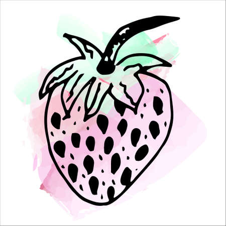 Imitation of watercolor paint. Bright and juicy illustration of strawberries on a white background. eps 10 Vectores