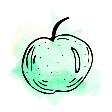 Imitation of watercolor paint. Bright and juicy illustration of a green apple on a white background.