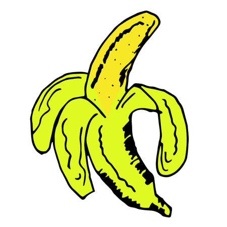 Bright and juicy banana illustration, on a white background. eps10