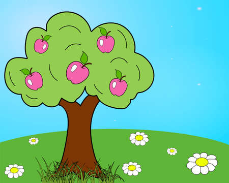 Bright and colorful children s drawing of an apple tree and a green serving with white daisies Vectores