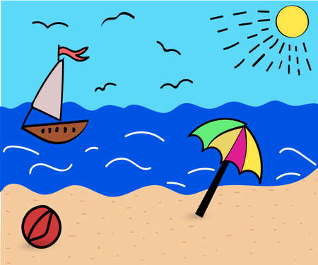Landscape of the sea coast with an umbrella and a yacht on the sea, drawing in a funny cartoon style. eps 10