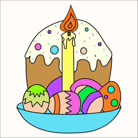 Russian Easter cake, cottage cheese, colorful eggs and willow branch. Isolated on white illustration.