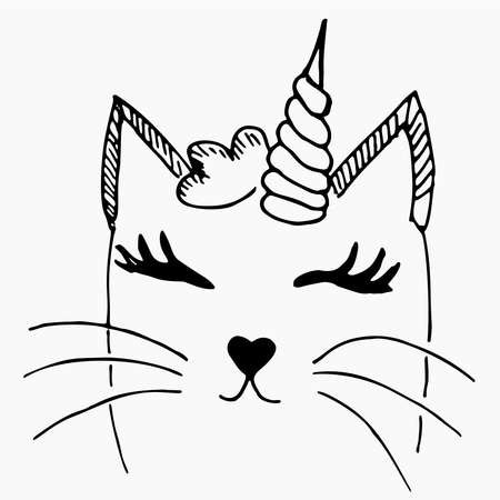 Cute vector illustration with white cat with unicorn horn drawn with a tablet. Lovely sleeping kitten with closed eyes isolated Vectores