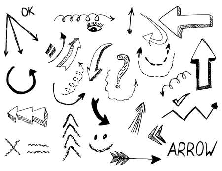 Set of arrow doodle on white background. eps 10