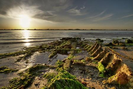 breakwaters: Coast - sandy beach Stock Photo