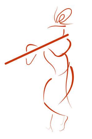 shri: Shri Krishna Line Art