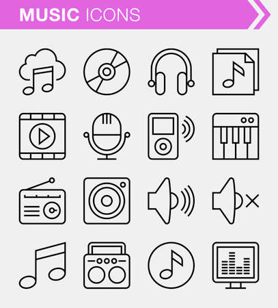 cd recorder: Set of pixel perfect music icons for mobile apps and web design.
