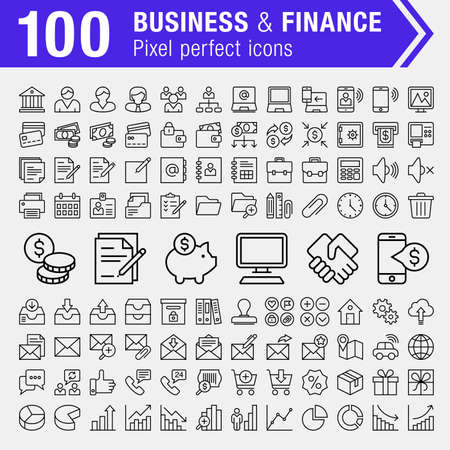Set of 100 pixel perfect finance, banking and business icons for mobile apps and web design. Ilustrace