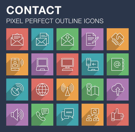 Set of pixel perfect outline contact and communication icons with long shadow. Editable stroke.