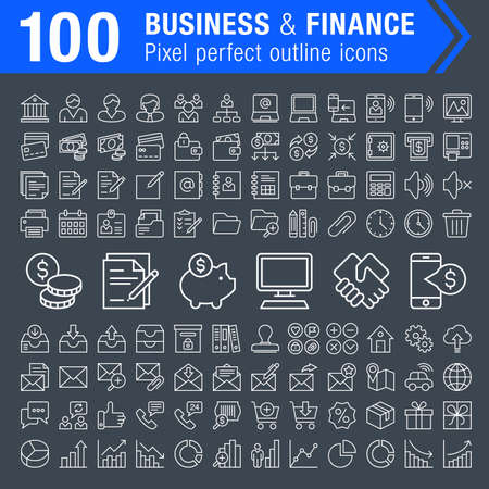 pixel perfect: Set of 100 pixel perfect finance, banking and business icons for mobile apps and web design. Editable stroke. Illustration