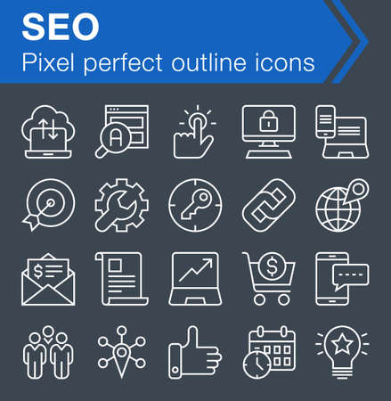 pixel perfect: Set of pixel perfect search engine optimization icons for mobile apps and web design. Editable stroke.