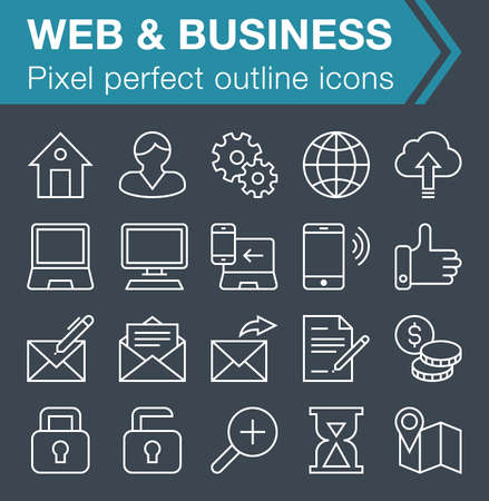 pixel perfect: Set of pixel perfect web and business icons for mobile apps and web design. Editable stroke.
