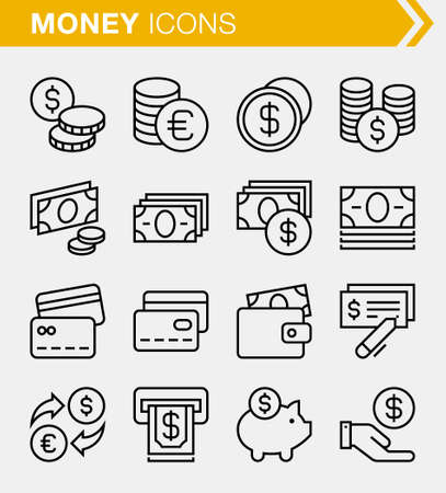Set of pixel perfect money icons for mobile apps and web design. Illustration
