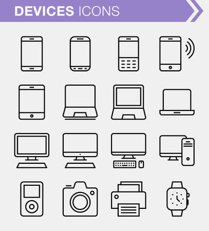 photo printer: Set of pixel perfect devices icons for mobile apps and web design.