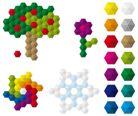 basic figure: Colourful mosaic tiles set and mosaic figures – fruit-tree, flowee, rainbow swirl and snowflake.