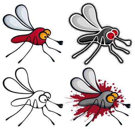 Cartoon style mosquitoes.