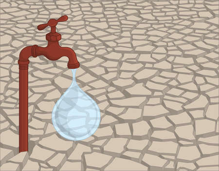 Leaking rusty faucet standing in the dried cracked soil.  イラスト・ベクター素材