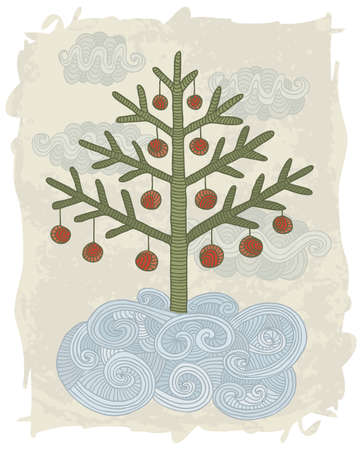 Illustration of hand drawn decorated Chistmas tree.