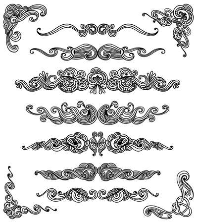 Set of hand drawn decorative elements, scrolls and corners. Ilustrace