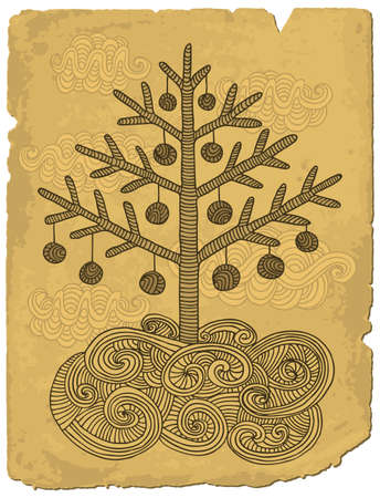 Hand drawn christmas tree on old paper.