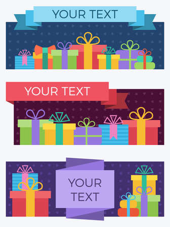 Set of flat style banners with gift boxes. Ilustrace