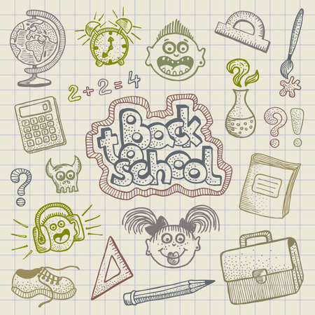 Hand drawn funny school element doodles.