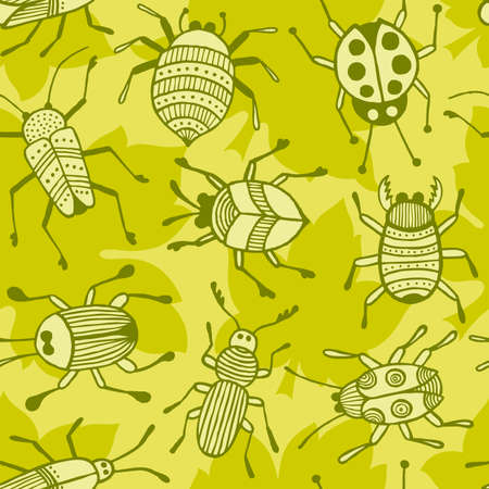 Hand drawn beetles seamless background. Ilustrace