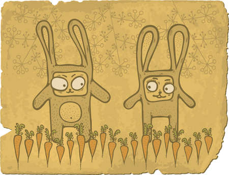 Illustration of hand drawn cute bunnies in carrots field on old paper background.