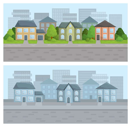 City street in residential district. Two color versions. Ilustrace