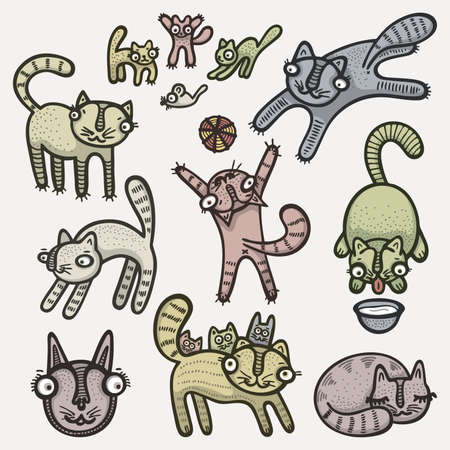 Hand drawn cute cats.