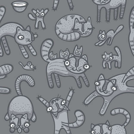 Hand drawn cute cats seamless background.