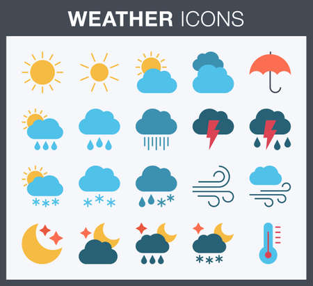 Set of flat style weather icons.