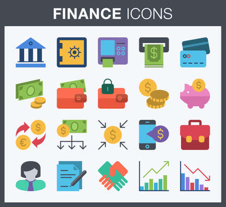 Set of flat style finance and banking icons. Ilustrace