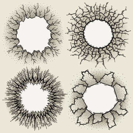 holes: Illustration of hand drawn paper and crack holes set.