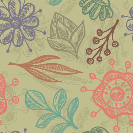 Doodle floral seamless background. Ilustrace