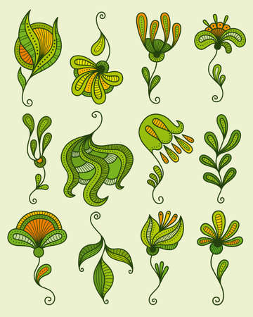 Set of stylized floral elements.