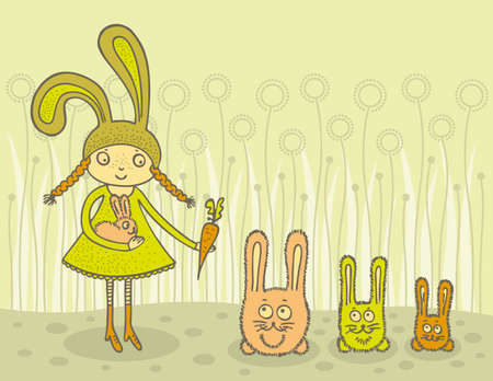 Cute girl in rabbit costume feeding lovely bunnies with carrot. Hand drawn illustration.
