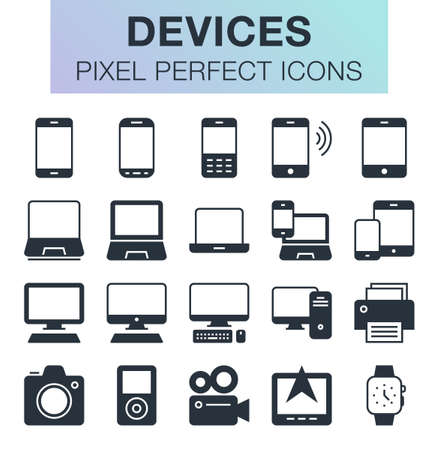 Set of pixel perfect devices icons for mobile apps and web design. Editable stroke.