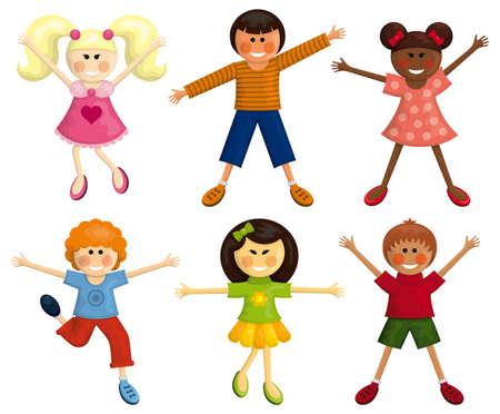 happy kids: Set of happy multi-ethnic kids. Illustration