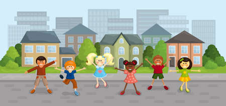 Illustration of happy multi-ethnic kids in the city.