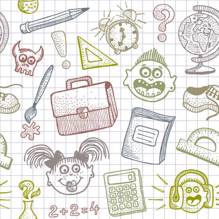 Hand drawn Back to School doodles seamless background.