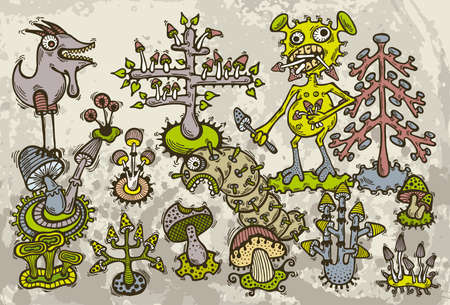Illustration of hand drawn mad monsters who lives in magic mushrooms forest.