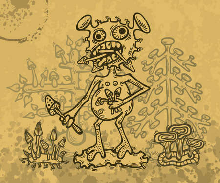 Illustration of hand drawn crazy monster who eats magic mushrooms.