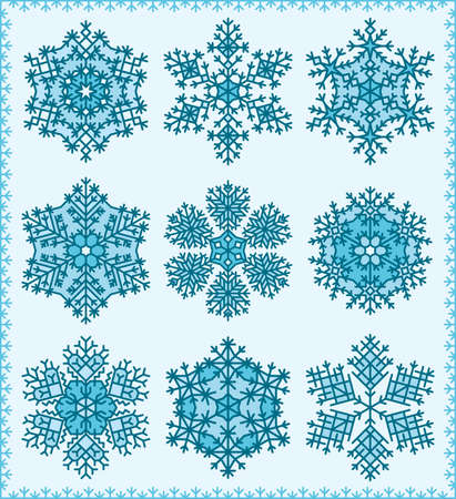 Set ofhighly detailed snowflakes.