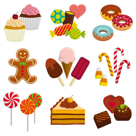 Set of sweets – candy, chocolate, gingerbread man, cake, donut, cupcake, ice cream, lollipop, cane bonbon.
