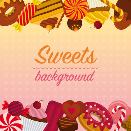 Colorful background with different sweets – candy, chocolate praline, cake, donut, cupcake, ice cream, lollipop, sugar cane, bonbon. Ilustrace