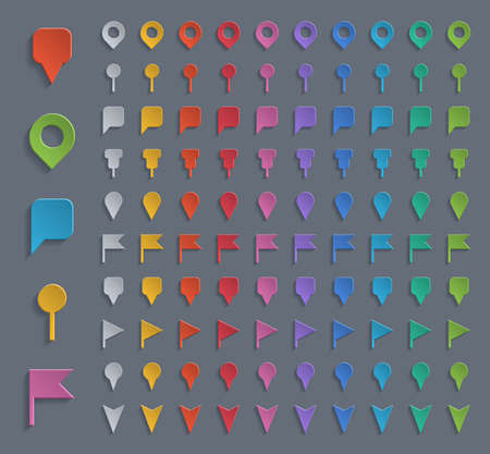 Set of colorful navigation pins.
