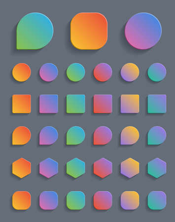 Set of colorful gradient button.