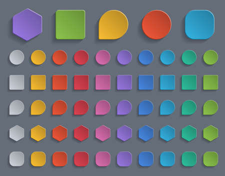 Set of colorful paper buttons.